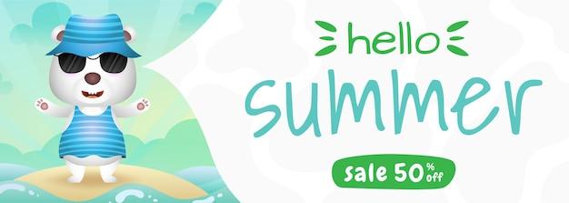 Banner de venda de verão com um urso polar fofo usando fantasia de verão