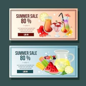 Banner de venda de verão coquetel bebida decoração horizontal refresco ilustração vetorial