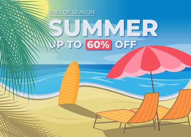 Banner de venda de verão de design plano, postagem em mídia social, cupom de desconto