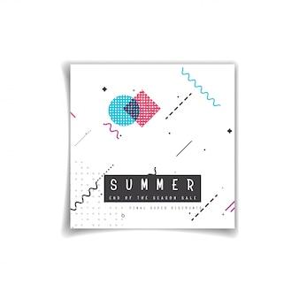 Banner de venda de verão decorar com design de memphis