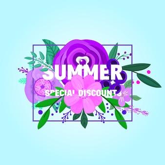 Banner de venda de verão decorar com flores e plantas