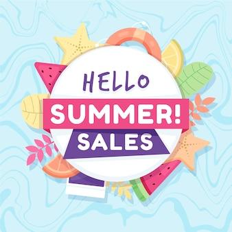 Banner de venda de verão design plano