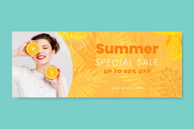 Banner de venda de verão em aquarela pintada à mão com foto