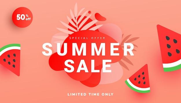Banner de venda de verão em estilo moderno com folhas tropicais e fatias de melancia voando