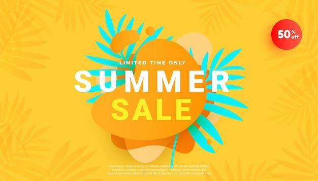 Banner de venda de verão em estilo moderno com folhas tropicais e fundo mínimo amarelo brilhante