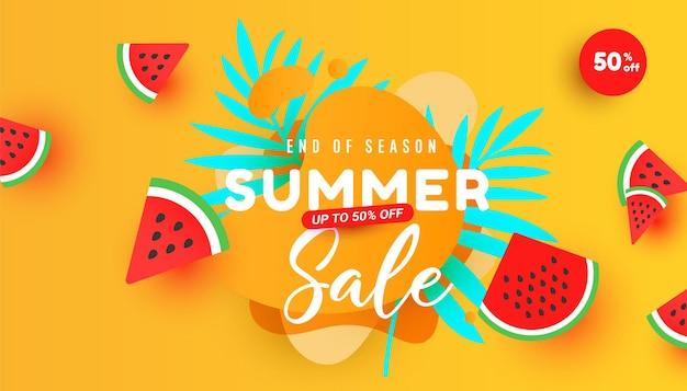 Banner de venda de verão em estilo moderno com folhas tropicais