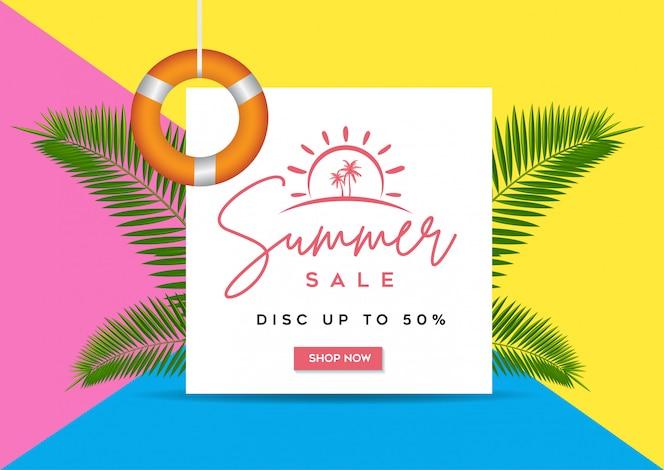 Banner de venda de verão, fundo Tropical com folhas de palmeira