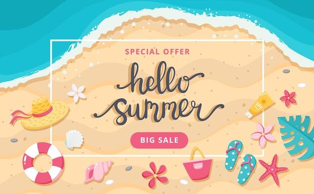 Banner de venda de verão. letras de mão desenhada, praia e elementos bonitos. ilustração vetorial de modelo