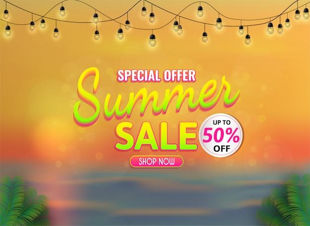 Banner de venda de verão, oferta especial até 50% de desconto.
