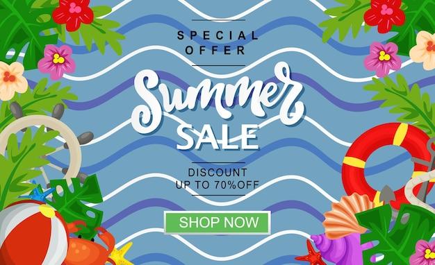 Banner de venda de verão praia plana marinho