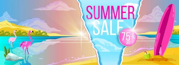Banner de venda de verão praia tropical em design plano
