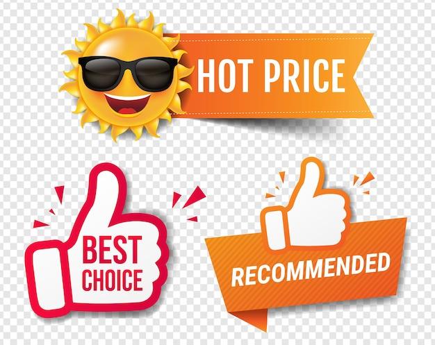 Banner de venda de verão recomendado com fundo transparente de polegares para cima