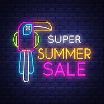 Banner de venda de verão. sinal de neon.