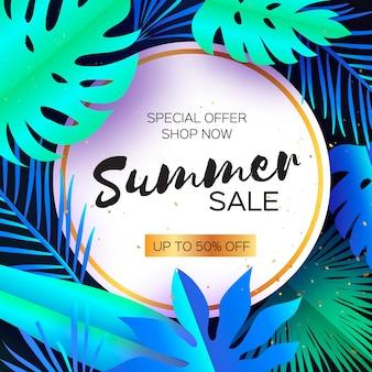 Banner de venda de verão tropical. folhas de palmeira, plantas. arte de corte de papel exótico.