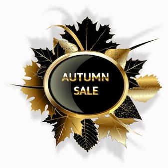 Banner de venda de vetor de folhagem de outono dourado outono dourado