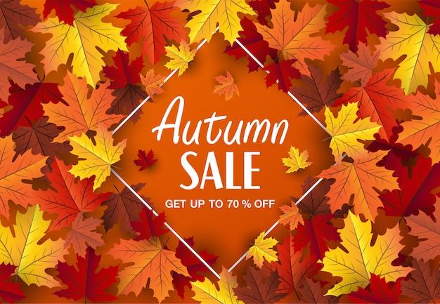 Banner de venda de vetor de folhagem de outono, fundo de folha de bordo