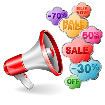 Banner de venda definida com megafone