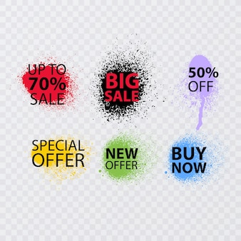 Banner de venda definir fonte graffiti de venda pulverizada com spray excessivo
