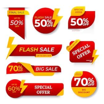 Banner de venda definir vetor. tag de desconto, banner de oferta especial. desconto e promoção. etiquetas coloridas de meio preço. ilustração isolada