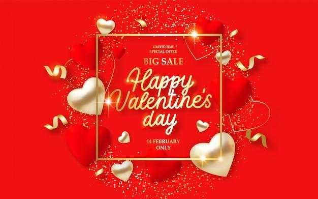 Banner de venda dia dos namorados com corações vermelhos 3d, luzes e texto