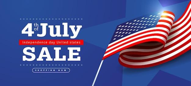 Banner de venda do dia da independência eua com bandeira dos estados unidos. 4 de modelo de cartaz de julho.