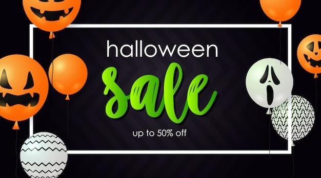 Banner de venda do dia das bruxas com balões fantasma