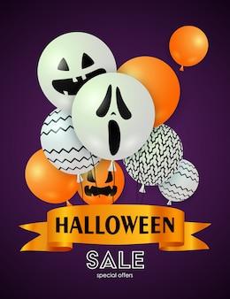 Banner de venda do dia das bruxas com balões