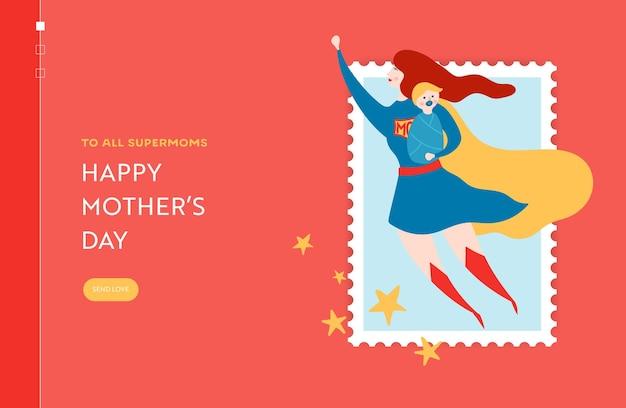 Banner de venda do dia das mães com a mãe do super-herói para a página inicial. promoção do dia das mães com desconto sazonal na primavera design para site, página da web. ilustração vetorial