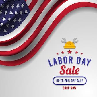 Banner de venda do dia do trabalho com a bandeira americana premium vector