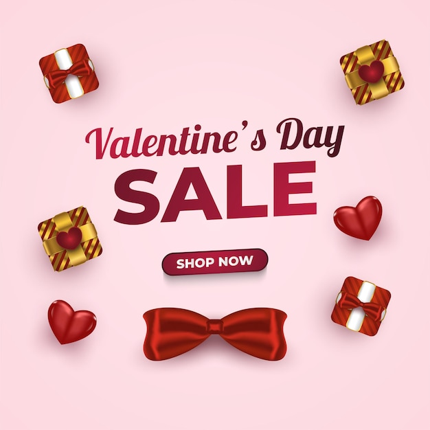 Banner de venda do dia dos namorados com caixa de presente e corações realistas