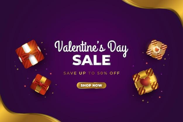 Banner de venda do dia dos namorados com caixa de presente realista e confete glitter dourado