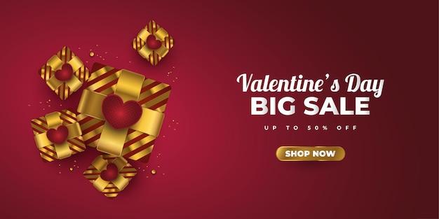 Banner de venda do dia dos namorados com caixas de presente douradas realistas, corações vermelhos e confetes dourados brilhantes