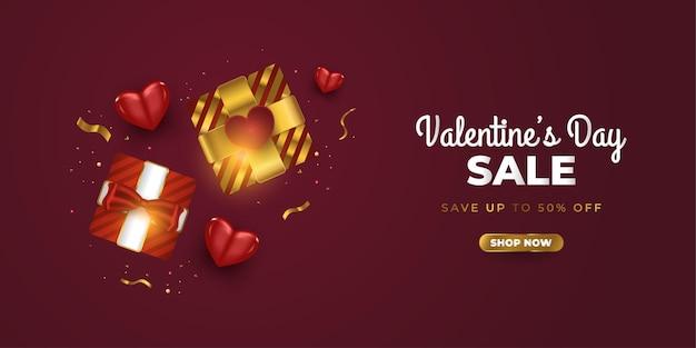 Banner de venda do dia dos namorados com caixas de presente realistas, corações vermelhos e confetes glitter dourados
