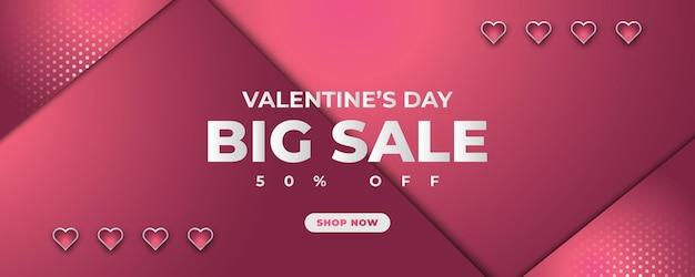 Banner de venda do dia dos namorados com coração em fundo de papel rosa