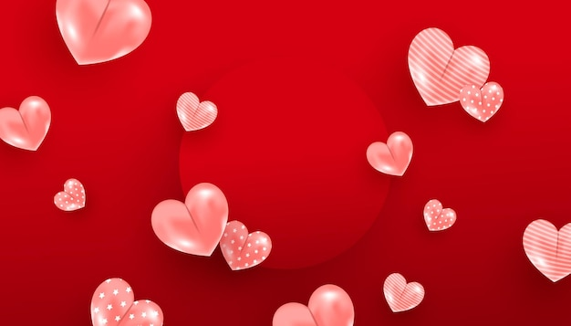 Banner de venda do dia dos namorados com corações rosa e moldura de círculo vermelho