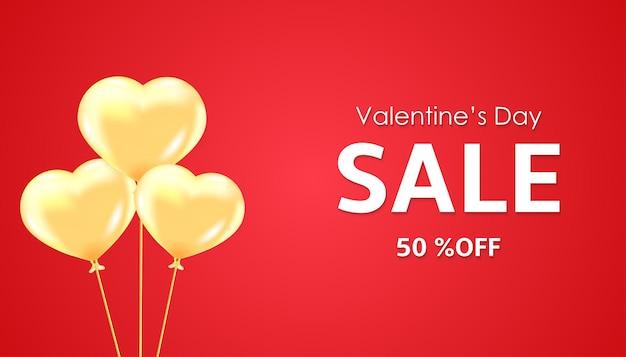 Banner de venda do dia dos namorados com corações