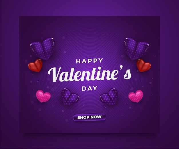 Banner de venda do dia dos namorados com propagação de corações coloridos em 3d