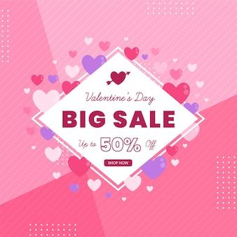 Banner de venda do dia dos namorados de design plano