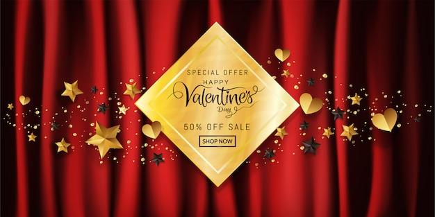 Banner de venda do dia dos namorados em decorativo de caligrafia de fundo de ouro vermelho