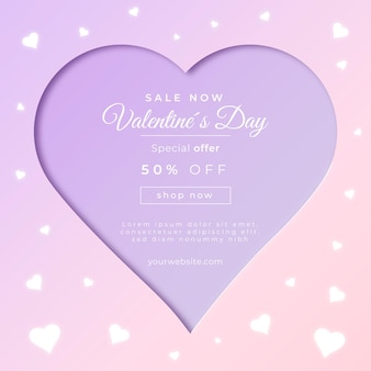 Banner de venda do dia dos namorados em estilo de papel