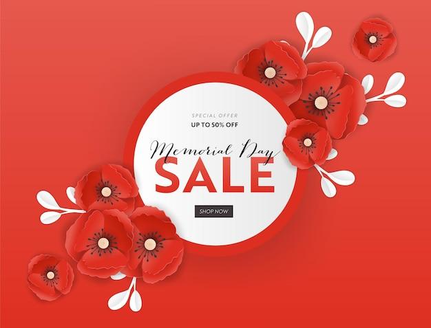 Banner de venda do memorial day com flores de papoula de corte de papel vermelho. cartaz de desconto do dia da lembrança com o símbolo de papoilas pedaço para folheto promocional, folheto, folheto. ilustração vetorial