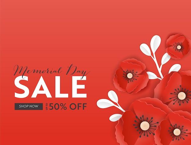 Banner de venda do memorial day com flores de papoula de corte de papel vermelho. cartaz de desconto do dia da lembrança com o símbolo de papoulas para promo flyer, folheto de origami, folheto. ilustração vetorial