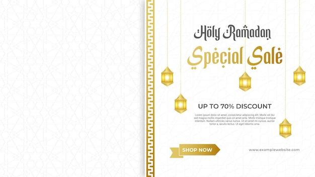Banner de venda do ramadã com moldura elegante de ornamento dourado decorativo