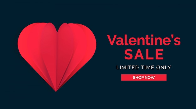 Banner de venda dos namorados coração de papercut vermelho estilo cassino
