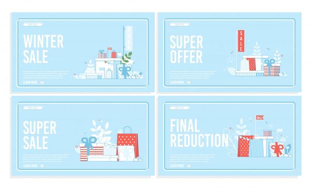 Banner de venda e redução final de inverno