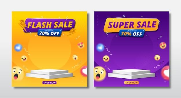 Banner de venda e super venda em flash com design de modelo de pódio e ícone de emoji