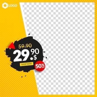 Banner de venda editável criativo para instagram e web com moldura abstrata vazia