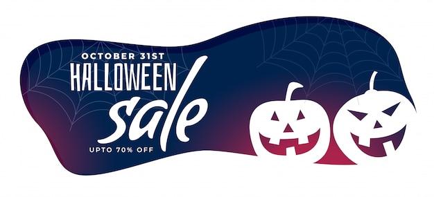 Banner de venda elegante de halloween com abóboras assustadoras