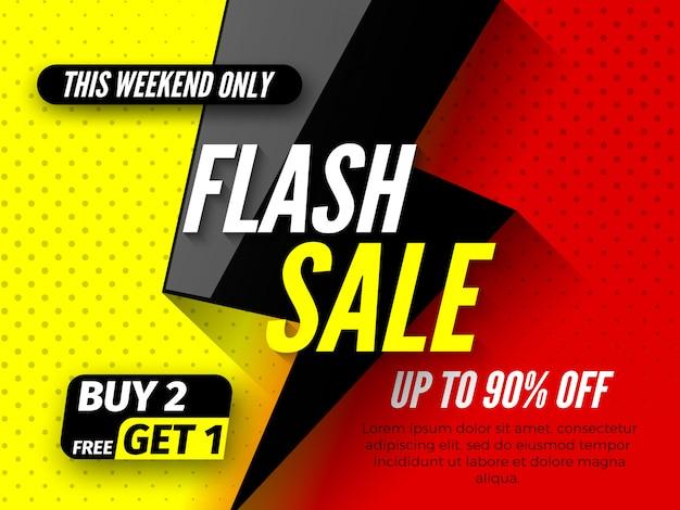 Banner de venda em flash, com até 90% de desconto. neste fim de semana, compre apenas 2, ganhe 1 grátis.
