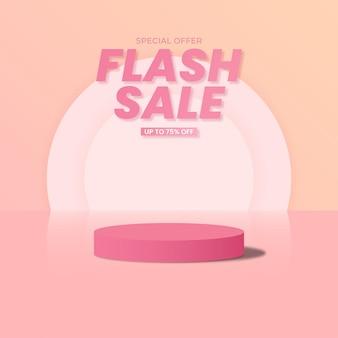 Banner de venda em flash e modelo de postagem em mídia social 3d design
